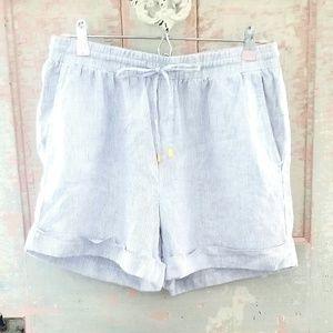 Ellen Tracy Linen Striped Shorts Blue White Small